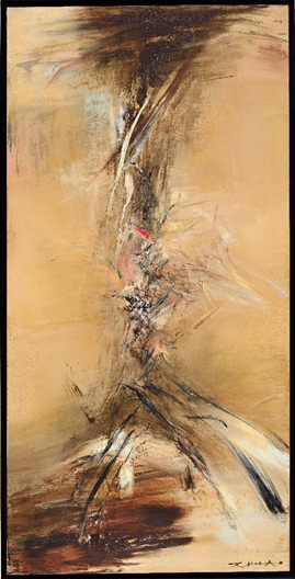 Zao Wou-Ki (1920-2013)  24.10.63, Painted in 1963  oil on canvas 194 x 97 cm Estimate: HK$ 45,000,000 - 65,000,000